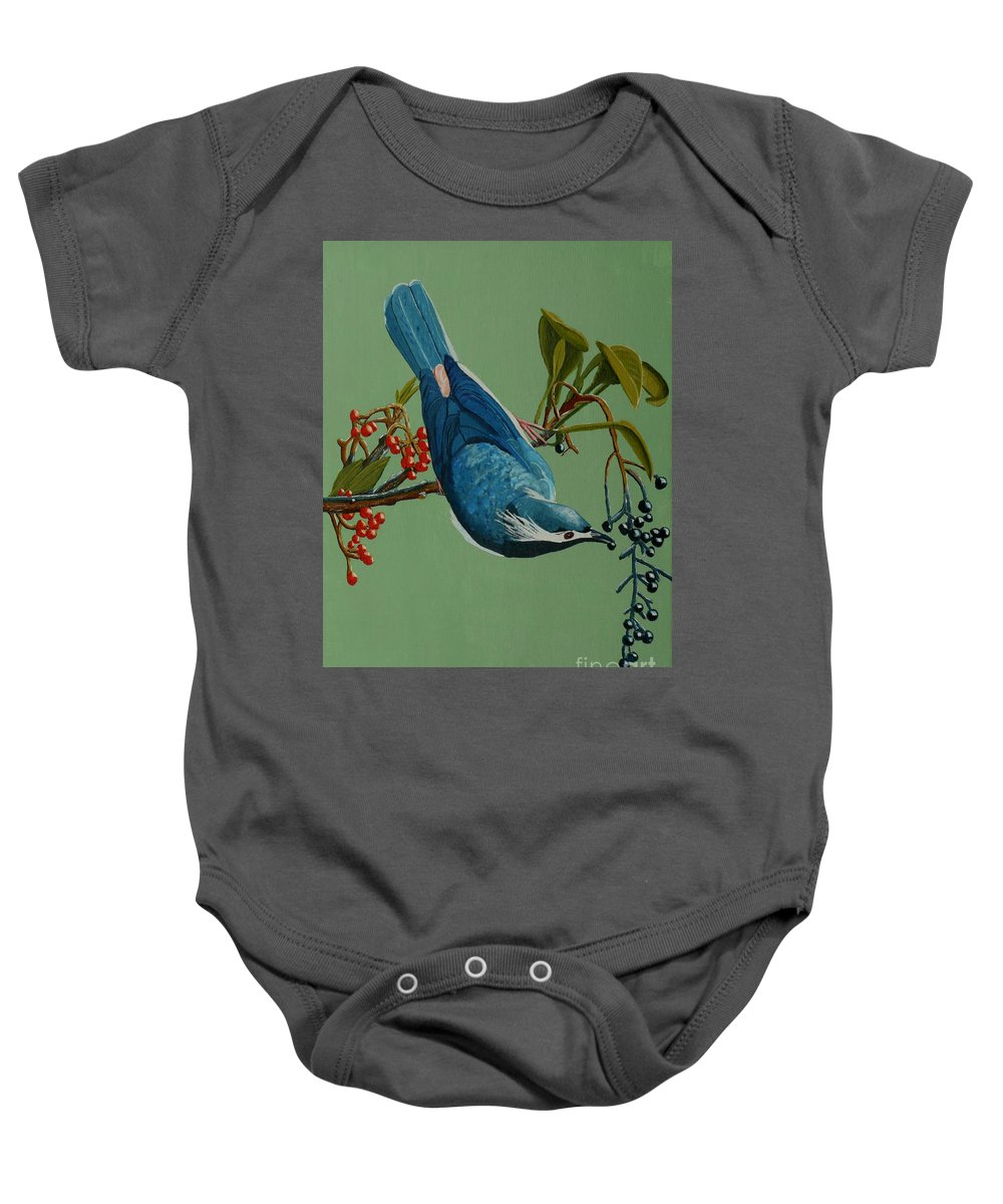 Bird Baby Onesie featuring the painting Lunch Time For Blue Bird by Anthony Dunphy