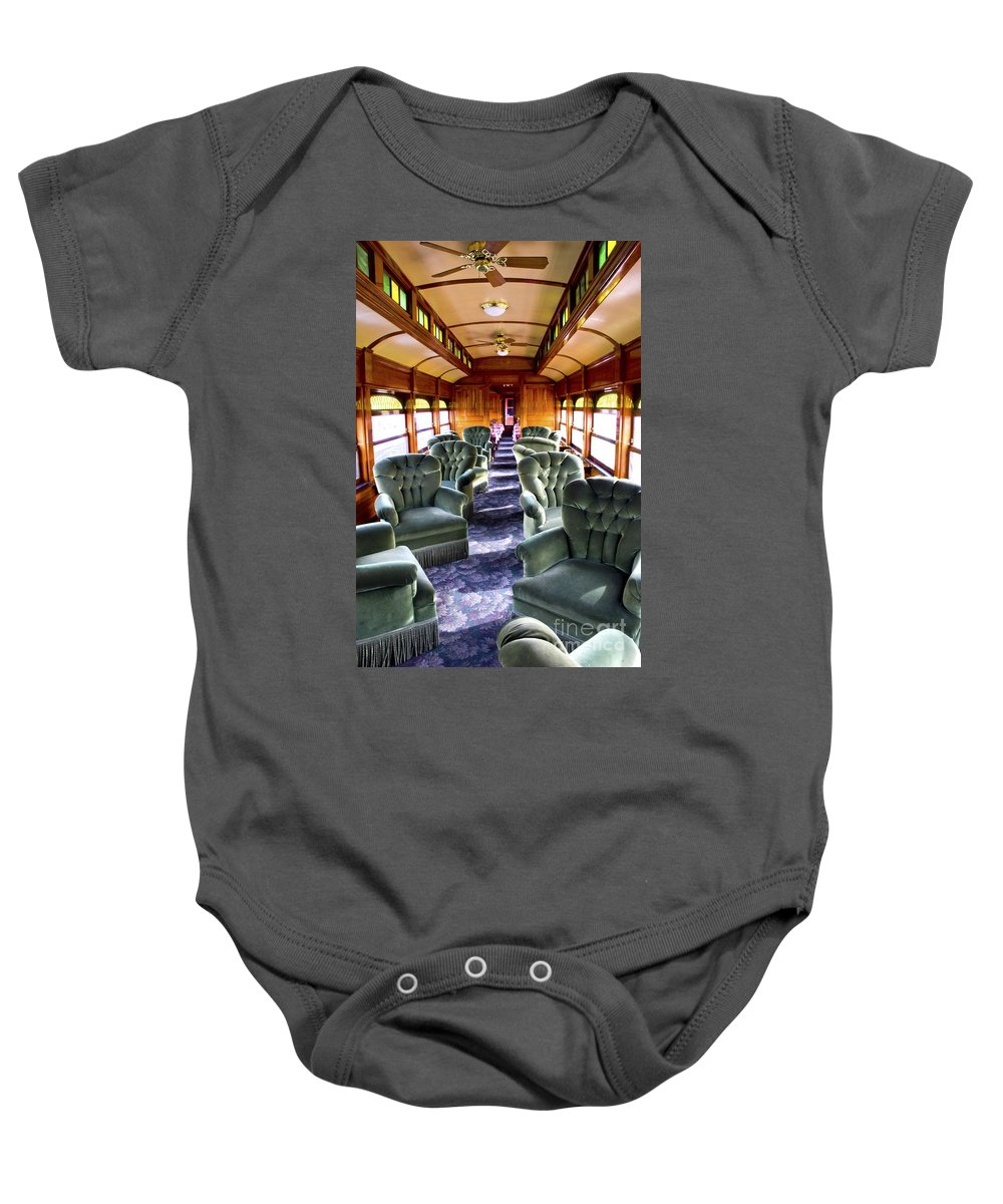 Railroad Baby Onesie featuring the photograph Luxury Lounge Car Of Early Railroading by Paul W Faust - Impressions of Light
