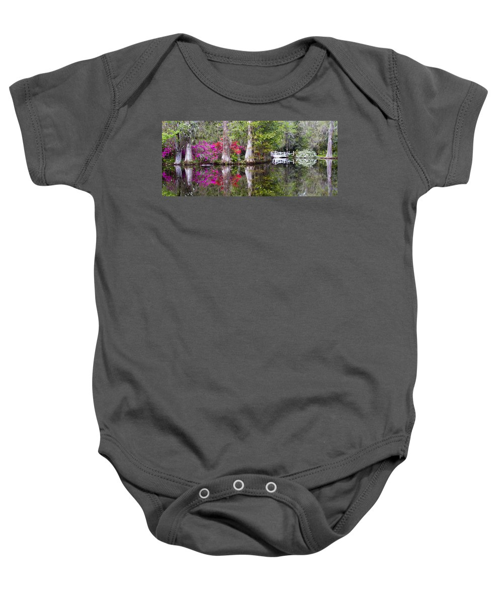 Nature Baby Onesie featuring the photograph Magnolia Gardens' Pond by Sharon M Connolly