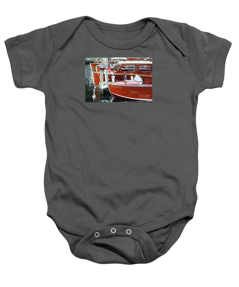 Century Boat Baby Onesie featuring the photograph Mahogany by Neil Zimmerman