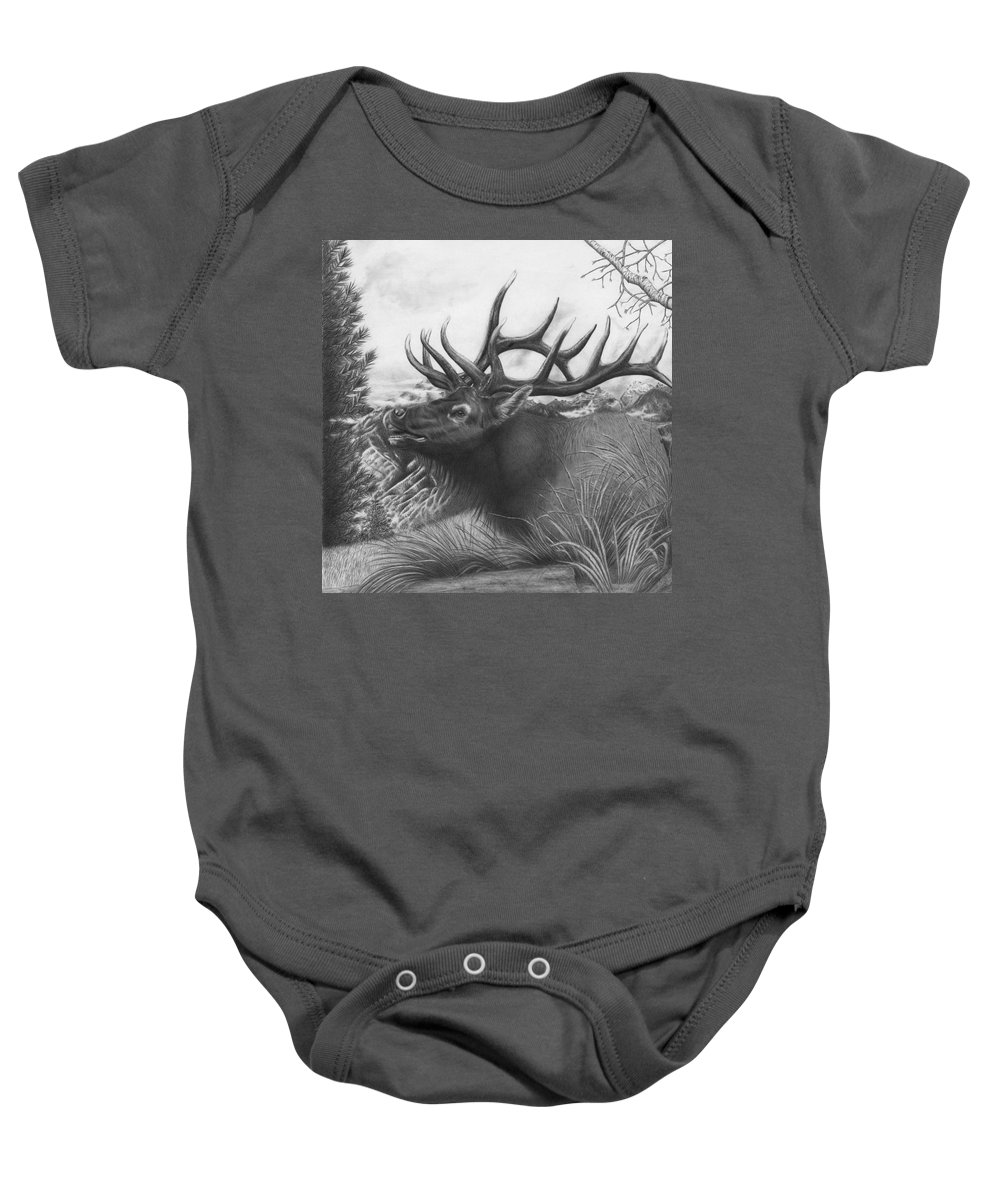 Wildlife Baby Onesie featuring the drawing Majestic Bull Elk by Barb Schacher