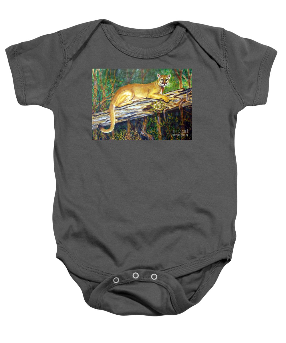Florida Panther Baby Onesie featuring the painting Majestic by To-Tam Gerwe