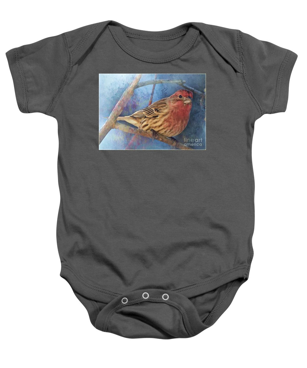 Wall Art Baby Onesie featuring the photograph Male Housefinch Digital Paint by Debbie Portwood