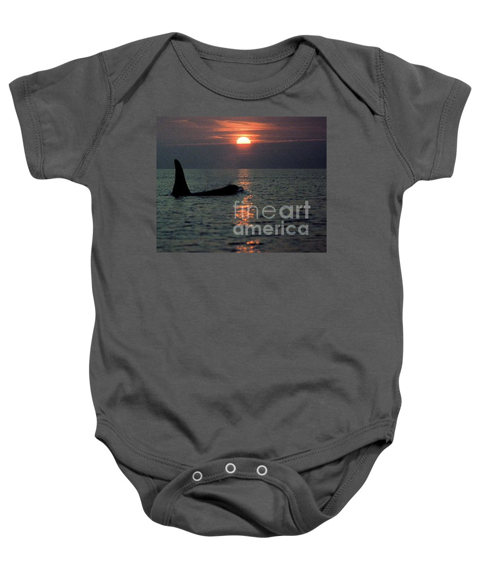 Male Baby Onesie featuring the photograph Male Orca At Sunset Off San Juan Island Washington 1986 by California Views Archives Mr Pat Hathaway Archives