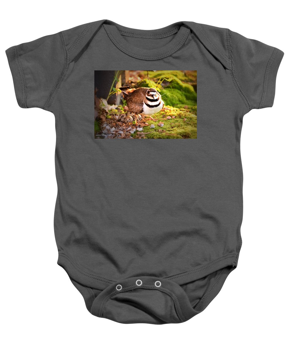 Killdeer Baby Onesie featuring the photograph Mama Protecting Eggs by Tara Potts