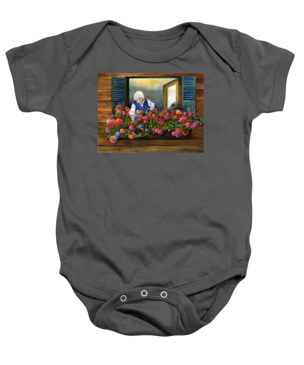 Window Baby Onesie featuring the painting Mama's Window Garden by Jane Ricker