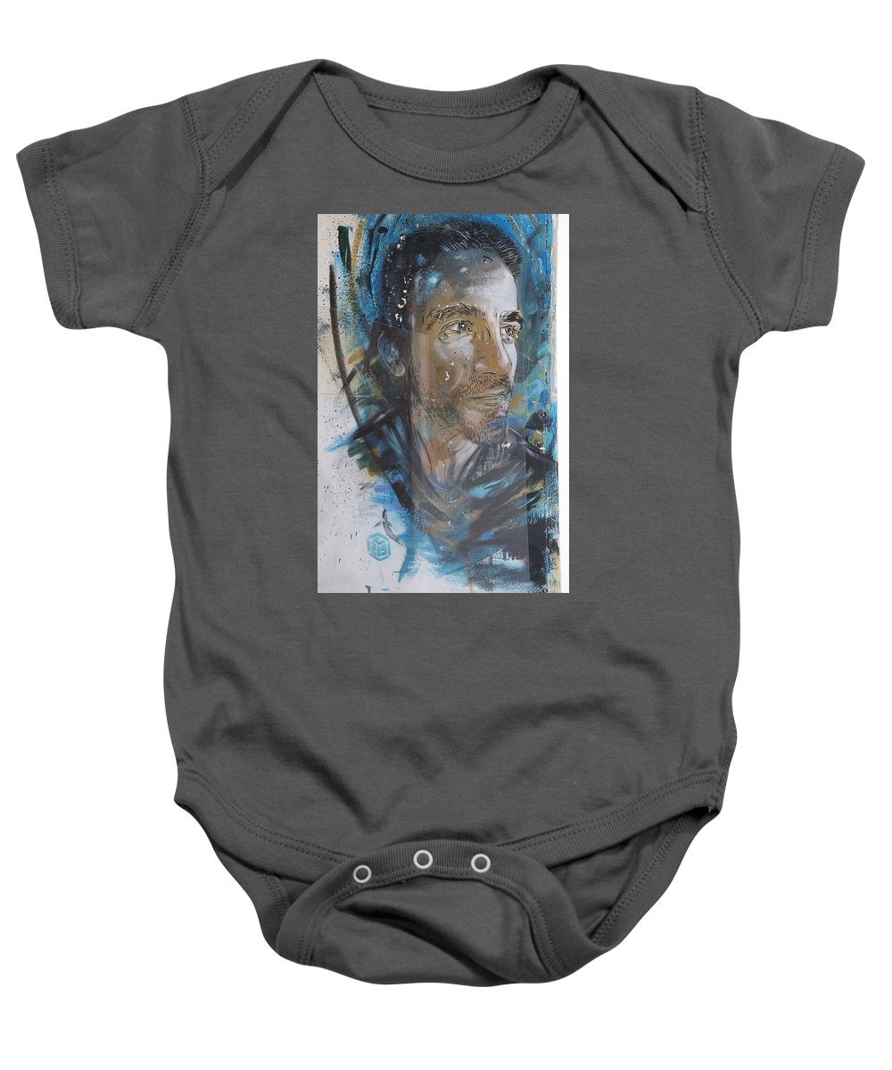 Street Art Baby Onesie featuring the photograph Man Portrait By C215 by David Resnikoff