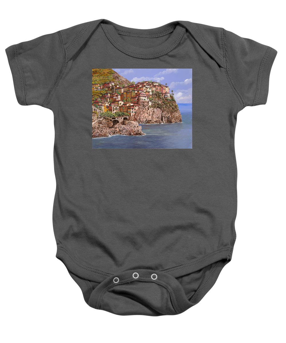 Seascape Baby Onesie featuring the painting Manarola  by Guido Borelli