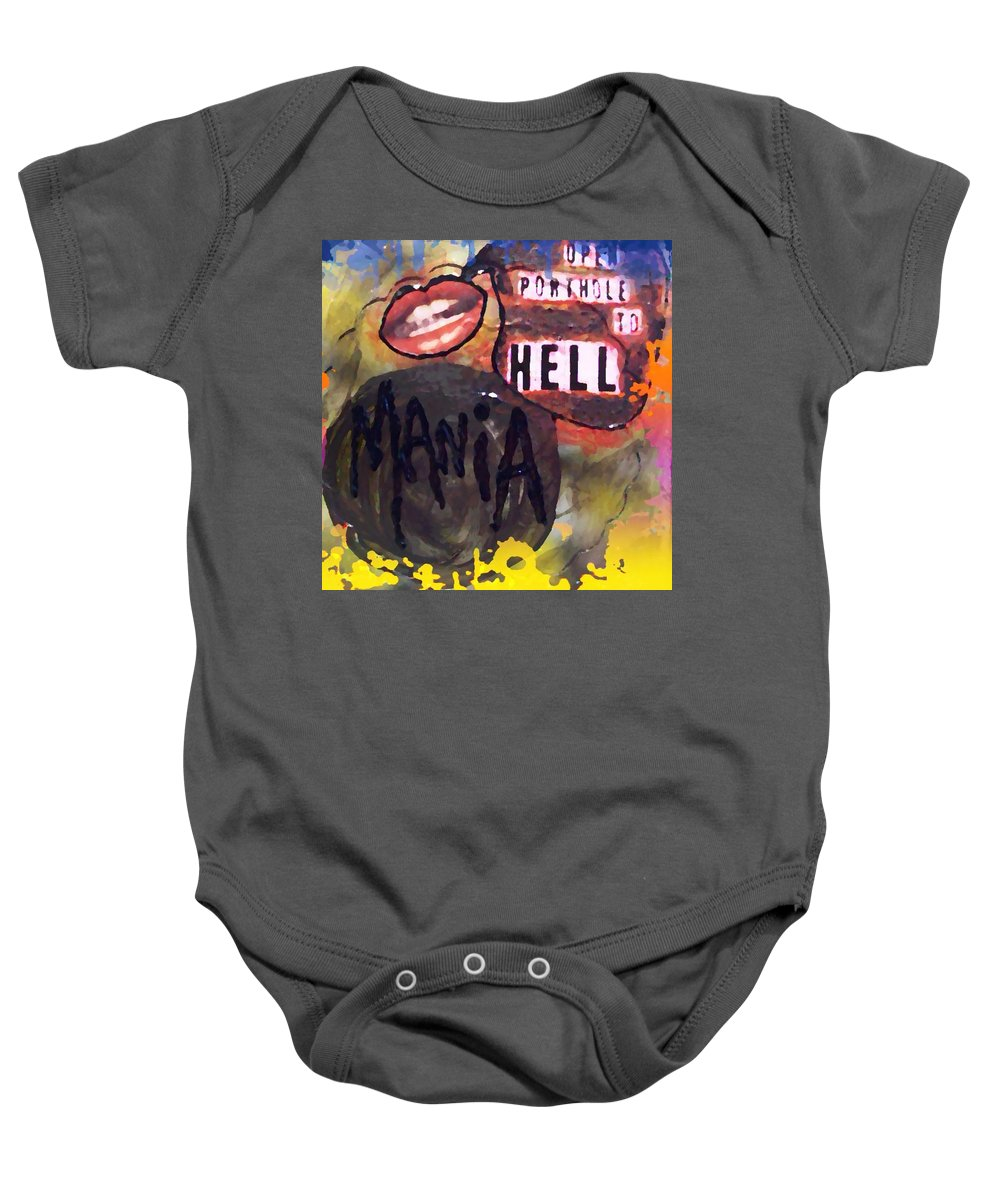 Baby Onesie featuring the digital art Mania by Lisa Piper