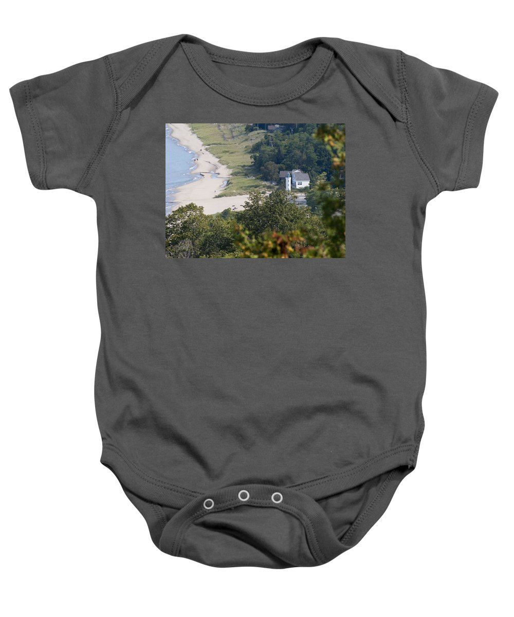 Beach Baby Onesie featuring the photograph Manning Lighthouse On Lake Michigan by Tara Lynn