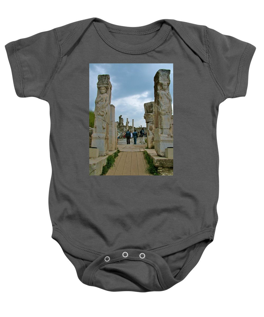 Marble Way From Theater To Central Ephesus Baby Onesie featuring the photograph Marble Way From Theater To Central Ephesus-turkey by Ruth Hager