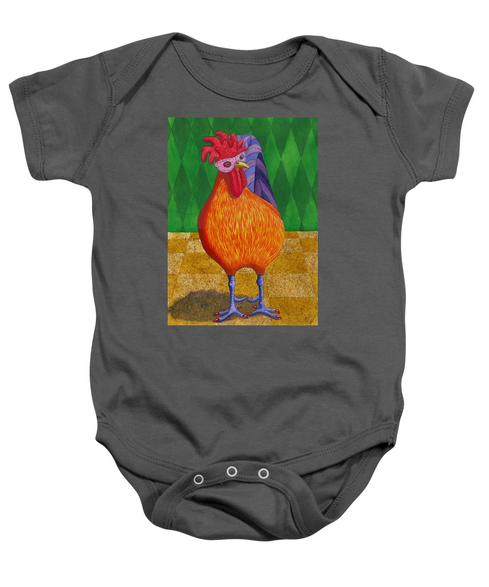 Chicken Baby Onesie featuring the painting Mardi Gras Chicken by Catherine G McElroy