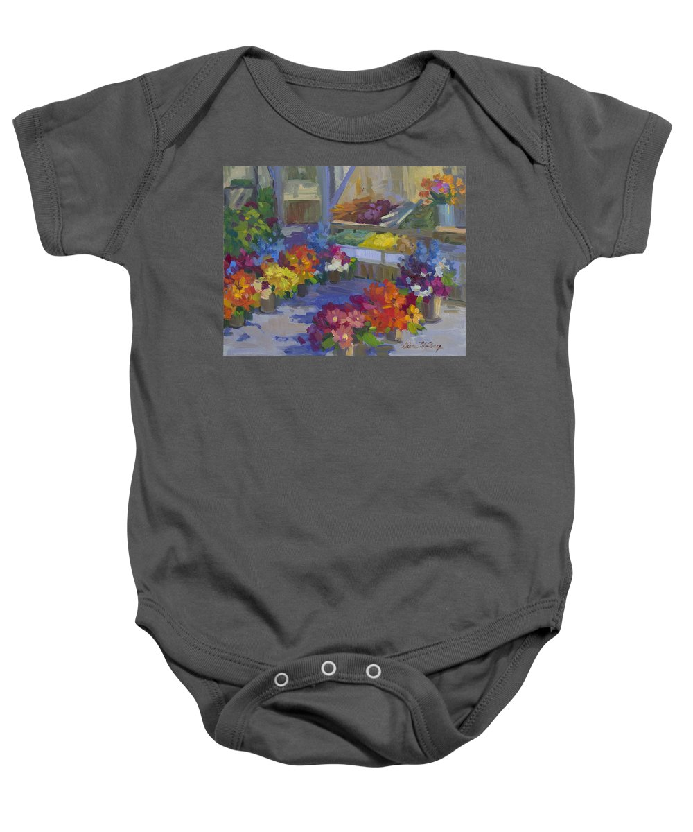 Flower Market Baby Onesie featuring the painting Market Day by Diane McClary