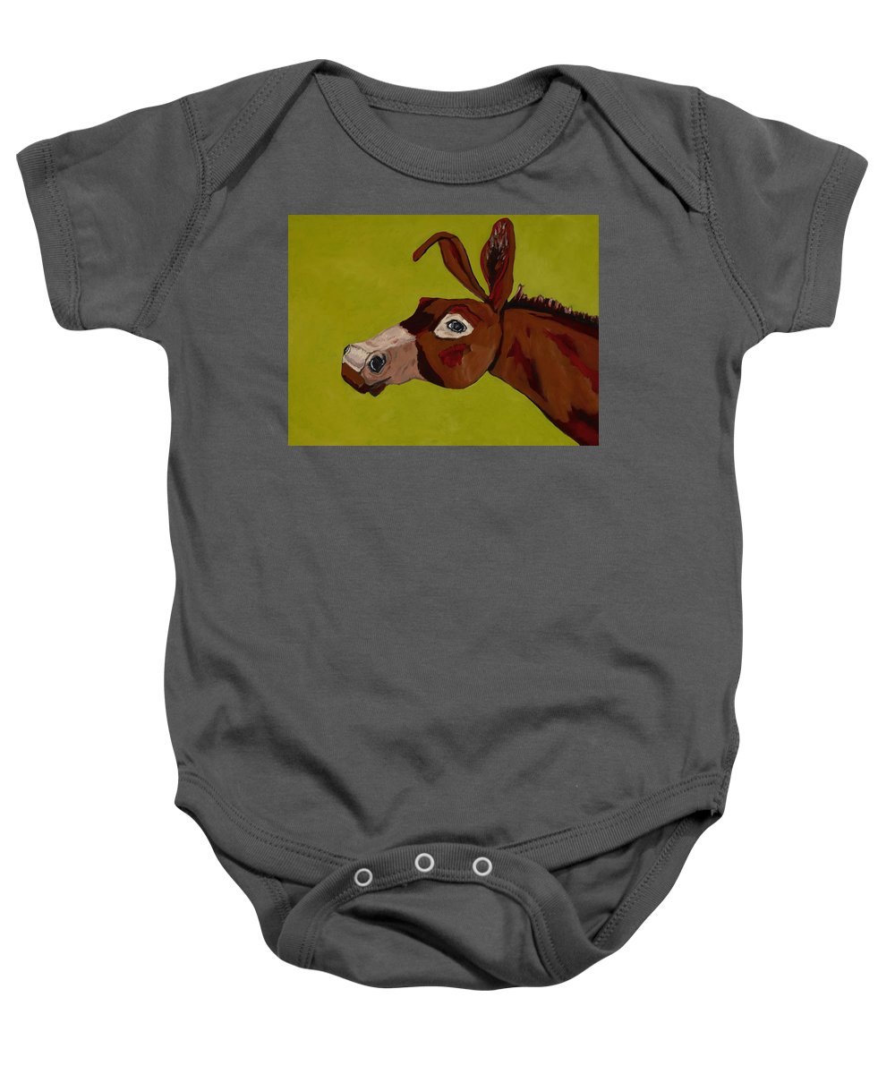 Mule Baby Onesie featuring the painting Marlene The Mule by Randine Dodson