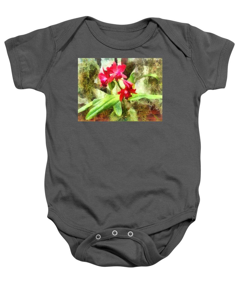 Cattleya Baby Onesie featuring the photograph Maroon Cattleya Orchids by Susan Savad