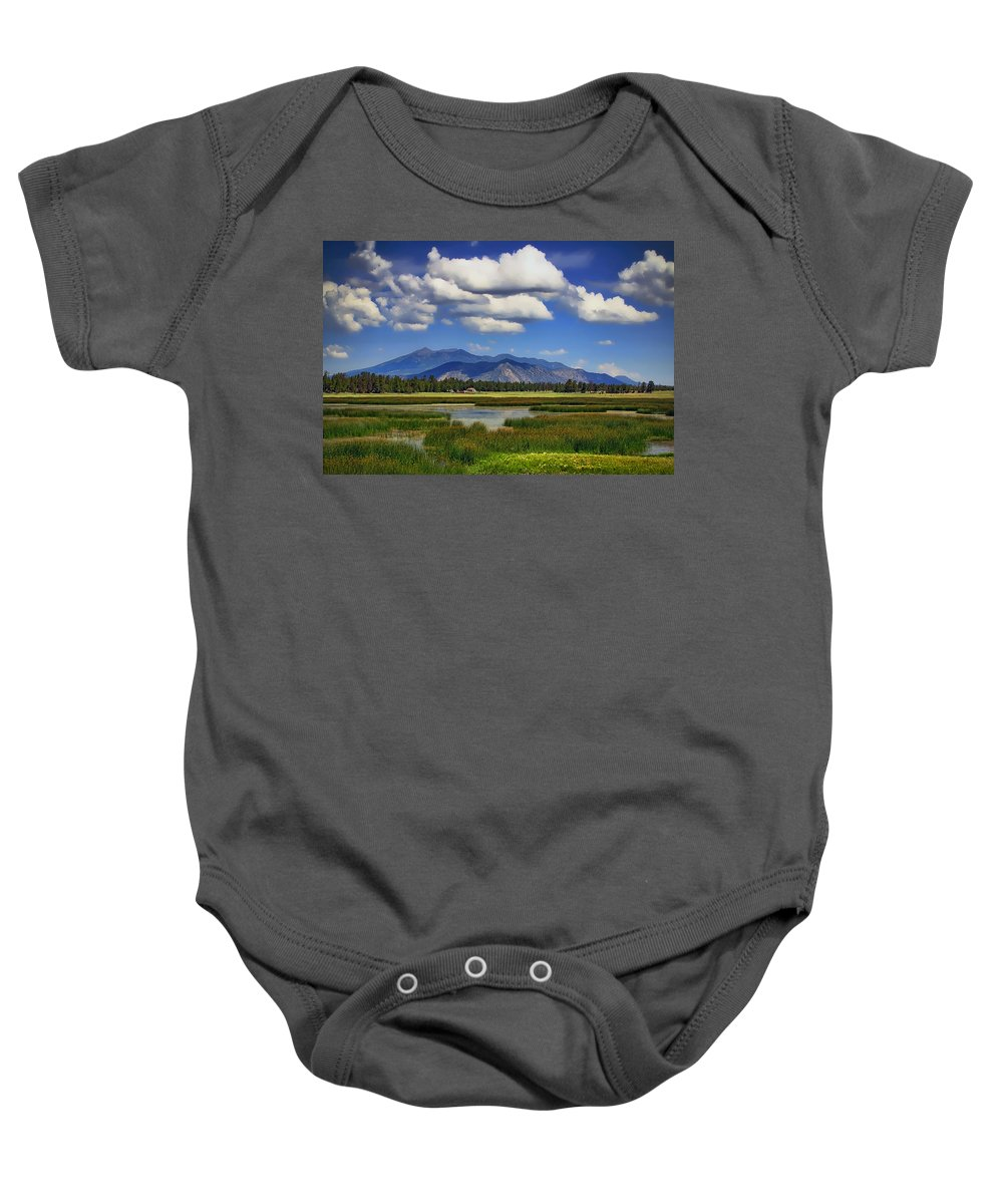 Marshall Lake Baby Onesie featuring the photograph Marshall Lake by Priscilla Burgers