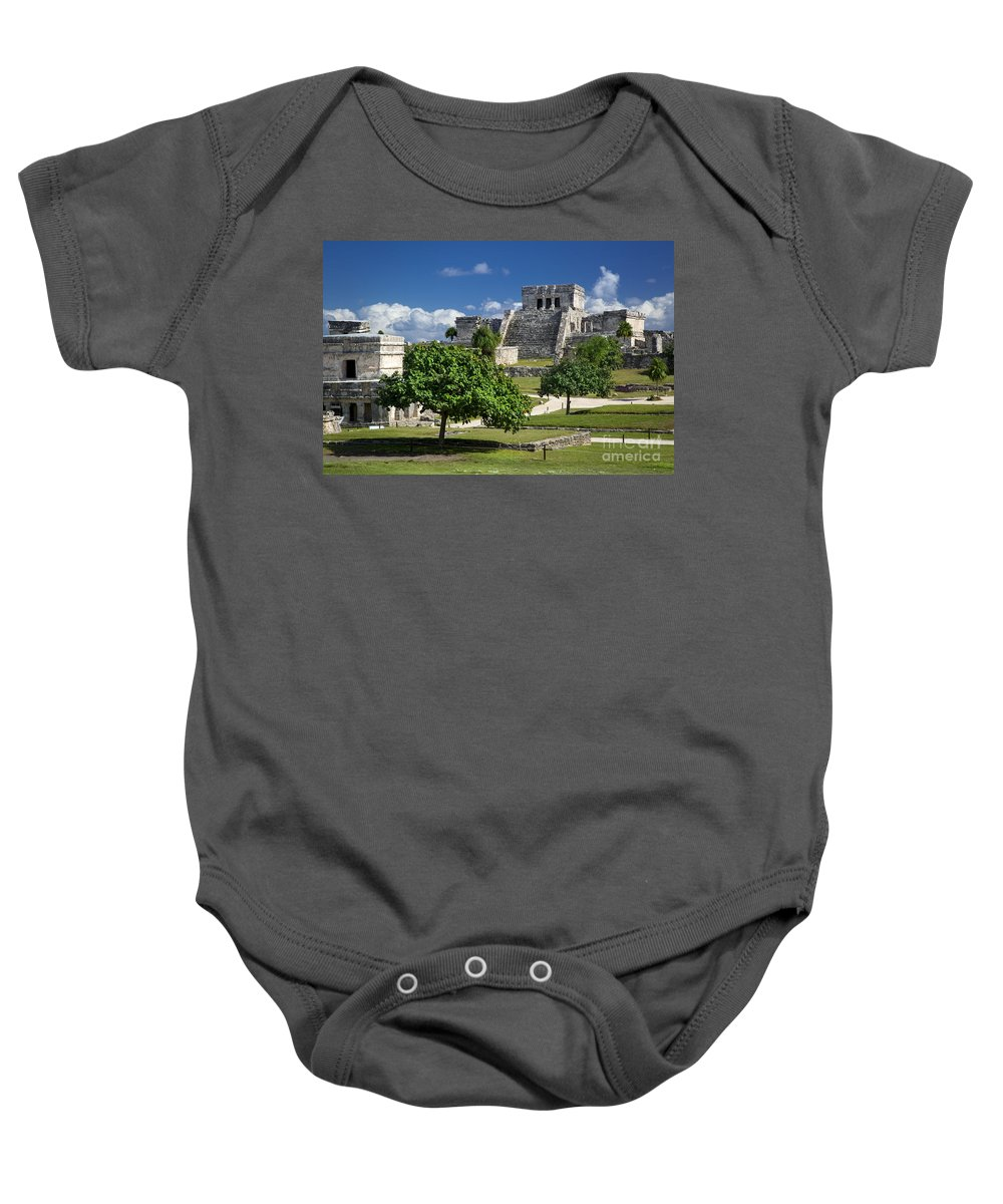 Ancient Baby Onesie featuring the photograph Mayan Ruins - Tulum by Brian Jannsen