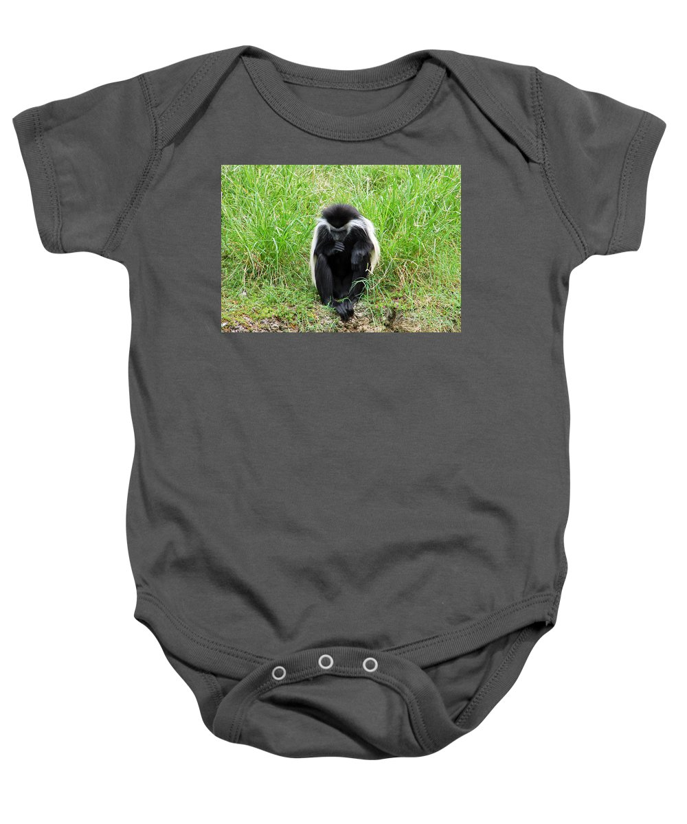 Colobus Baby Onesie featuring the photograph Meditating Monkey by Aimee L Maher ALM GALLERY