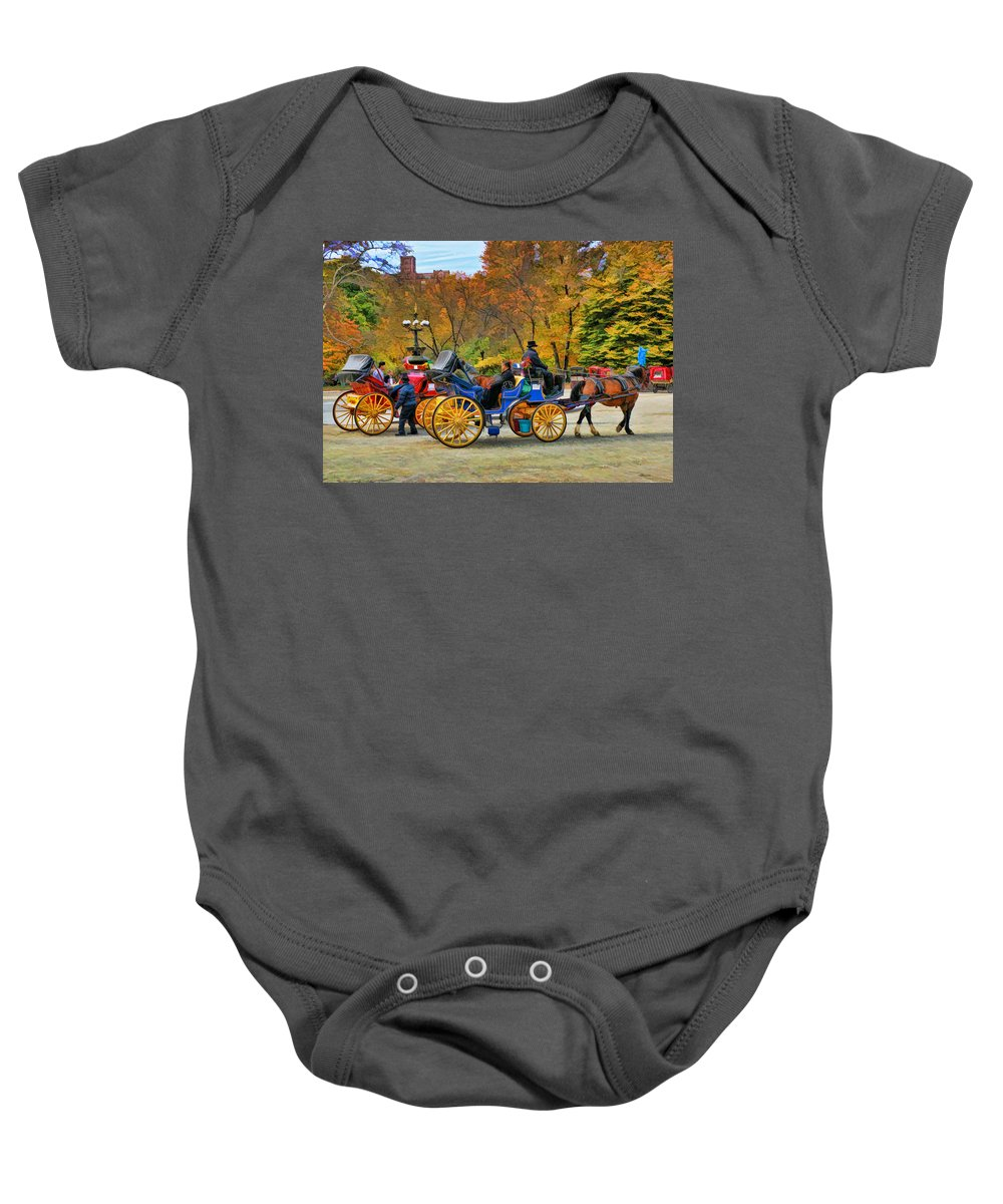 Meeting Baby Onesie featuring the photograph Meeting Of The Carriages by Allen Beatty