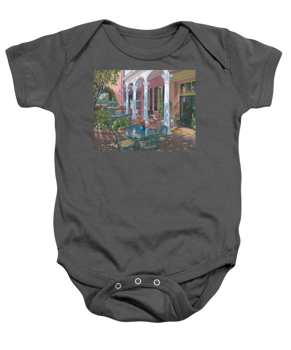Painting For Sale Baby Onesie featuring the painting Meeting Street Inn Charleston by Richard Harpum