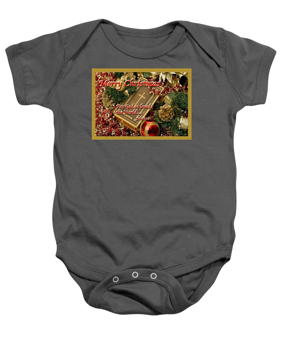 Christmas Card Baby Onesie featuring the photograph Merry Christmas - John 3 V16 by Terry Wallace