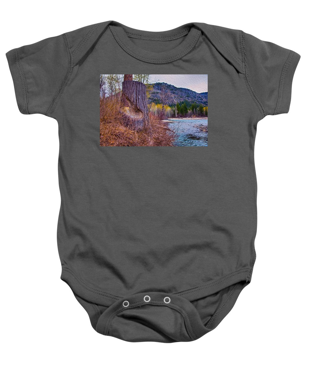 North Cascades Baby Onesie featuring the photograph Methow Riverbank by Omaste Witkowski