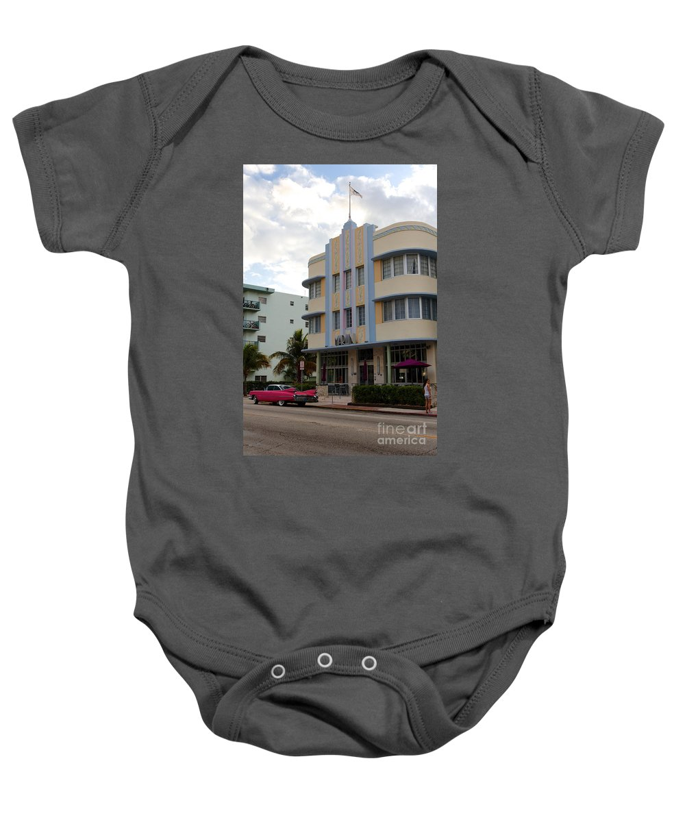 Architectural Baby Onesie featuring the photograph Miami Art Deco by Jannis Werner