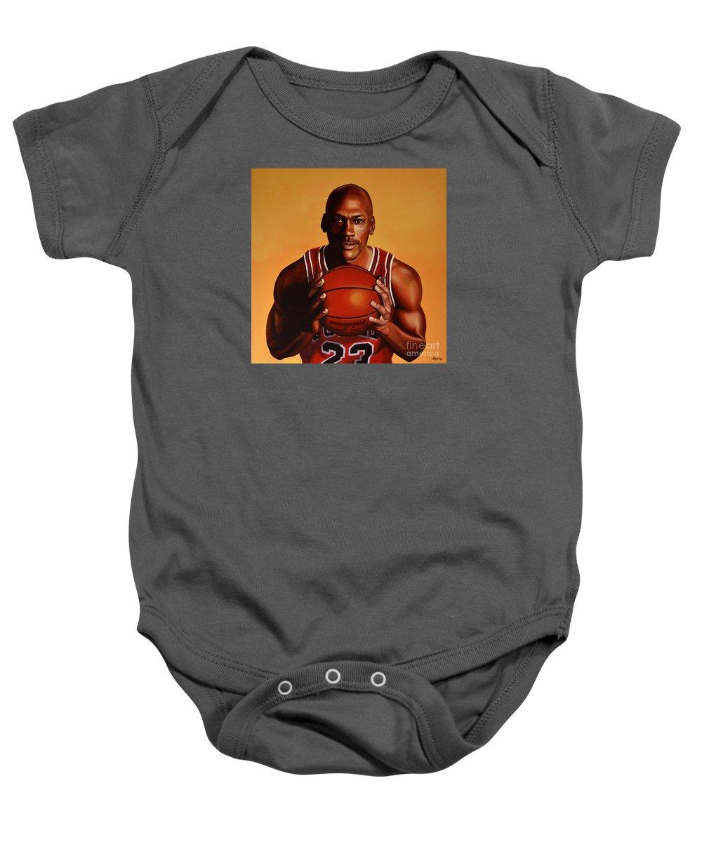 Michael Jordan Baby Onesie featuring the painting Michael Jordan 2 by Paul Meijering