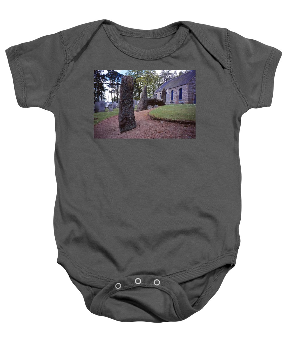 Scottish Standing Stone Baby Onesie featuring the photograph Midmar Stone Circle by Cynthia Wallentine