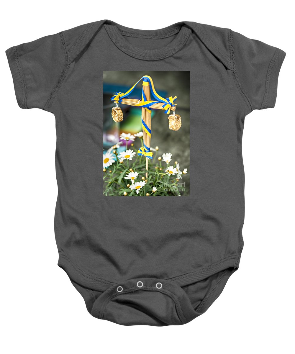 Celebration Baby Onesie featuring the photograph Midsummer Pole by Sophie McAulay
