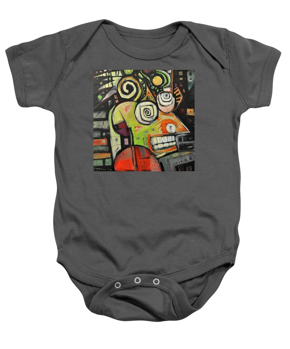 Migraine Baby Onesie featuring the painting Migraine by Tim Nyberg