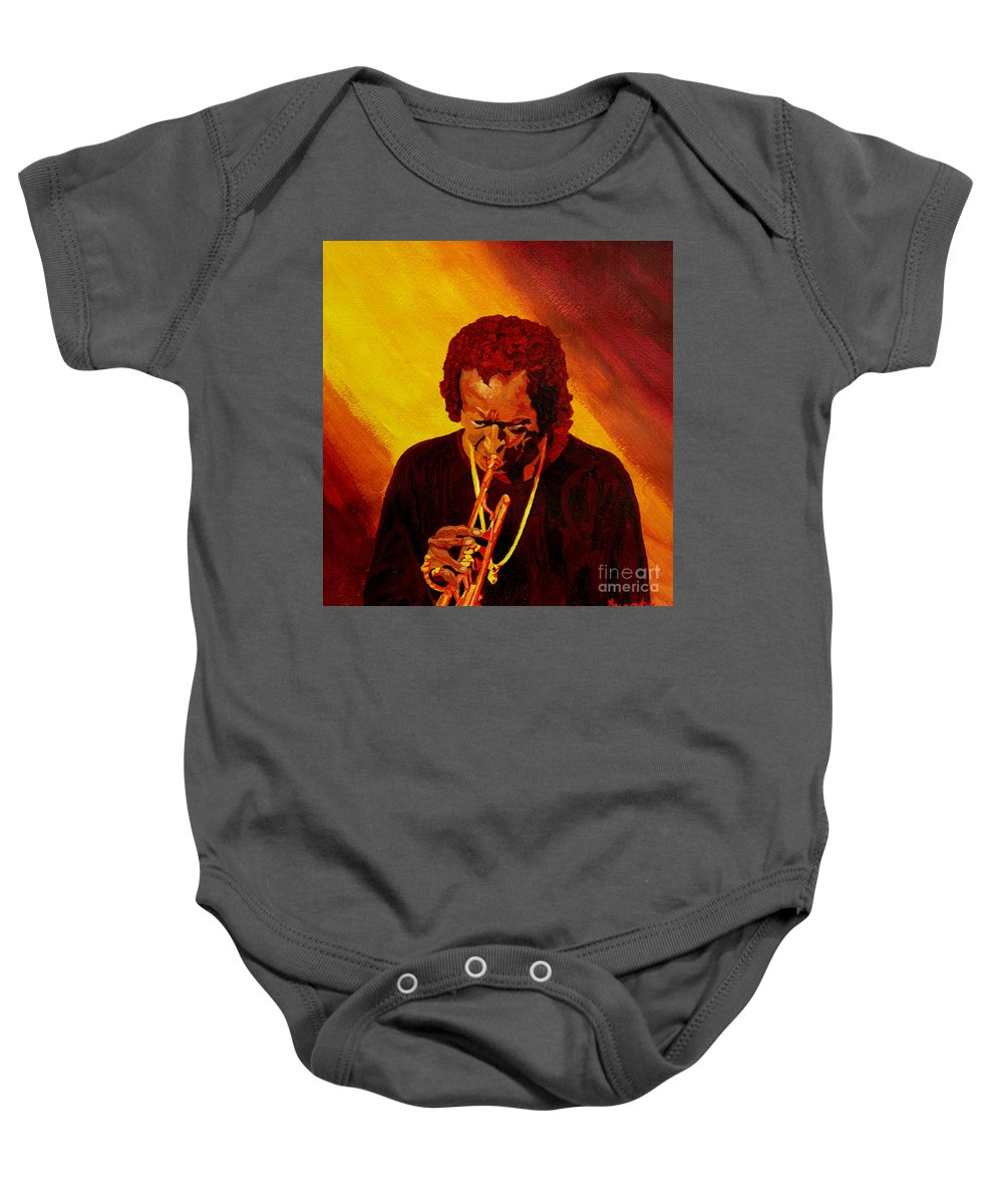 Miles Davis Baby Onesie featuring the painting Miles Davis Jazz Man by Anthony Dunphy