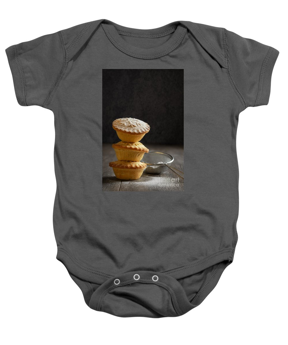 Mince Baby Onesie featuring the photograph Mince Pie Stack by Amanda Elwell