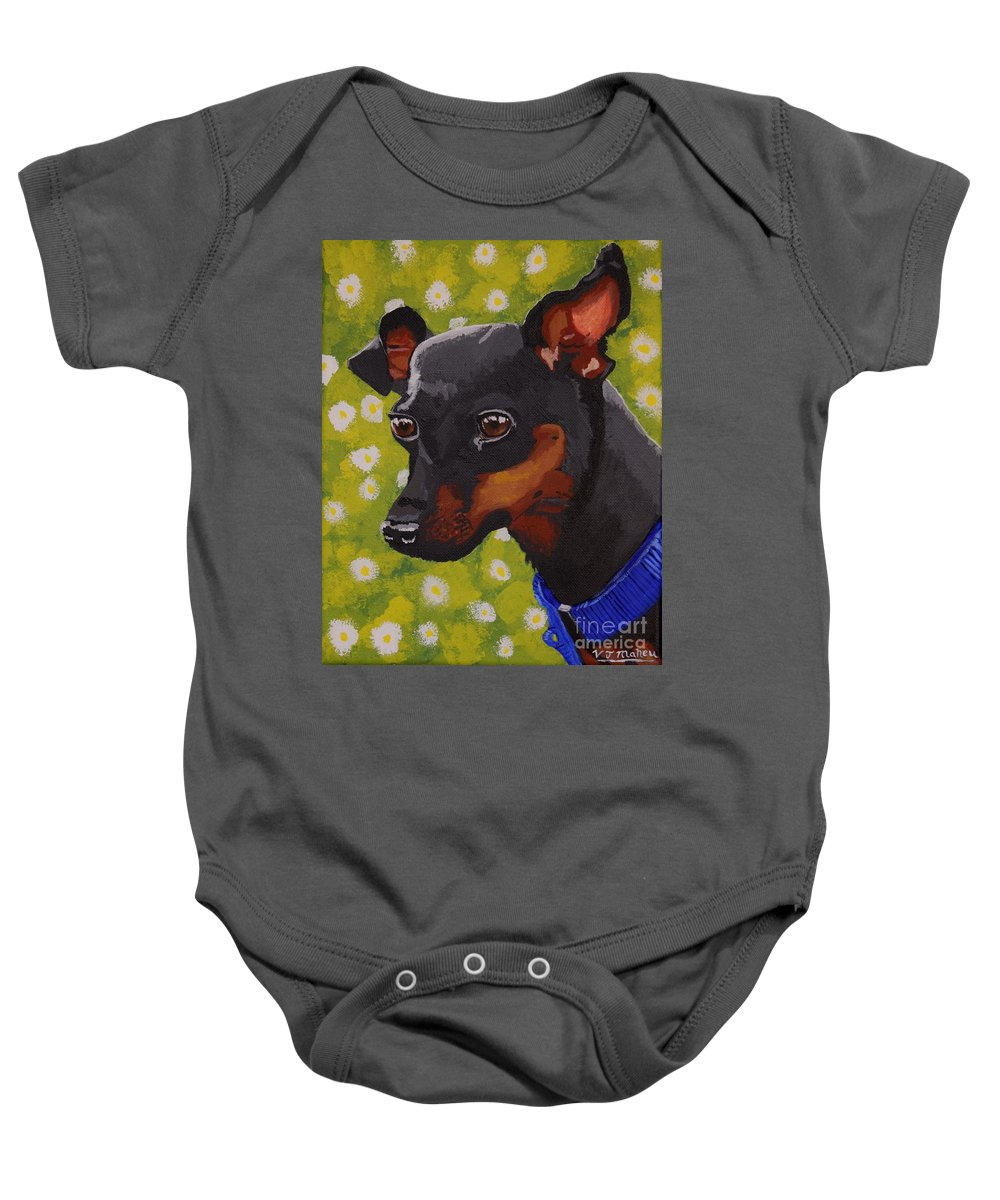 Dog Baby Onesie featuring the painting Mini Pinscher by Vicki Maheu