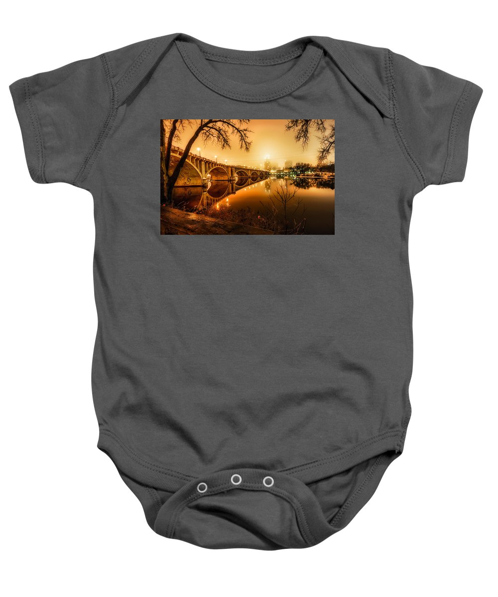 Hdr Baby Onesie featuring the photograph Minneapolis In The Fog by Mark Goodman