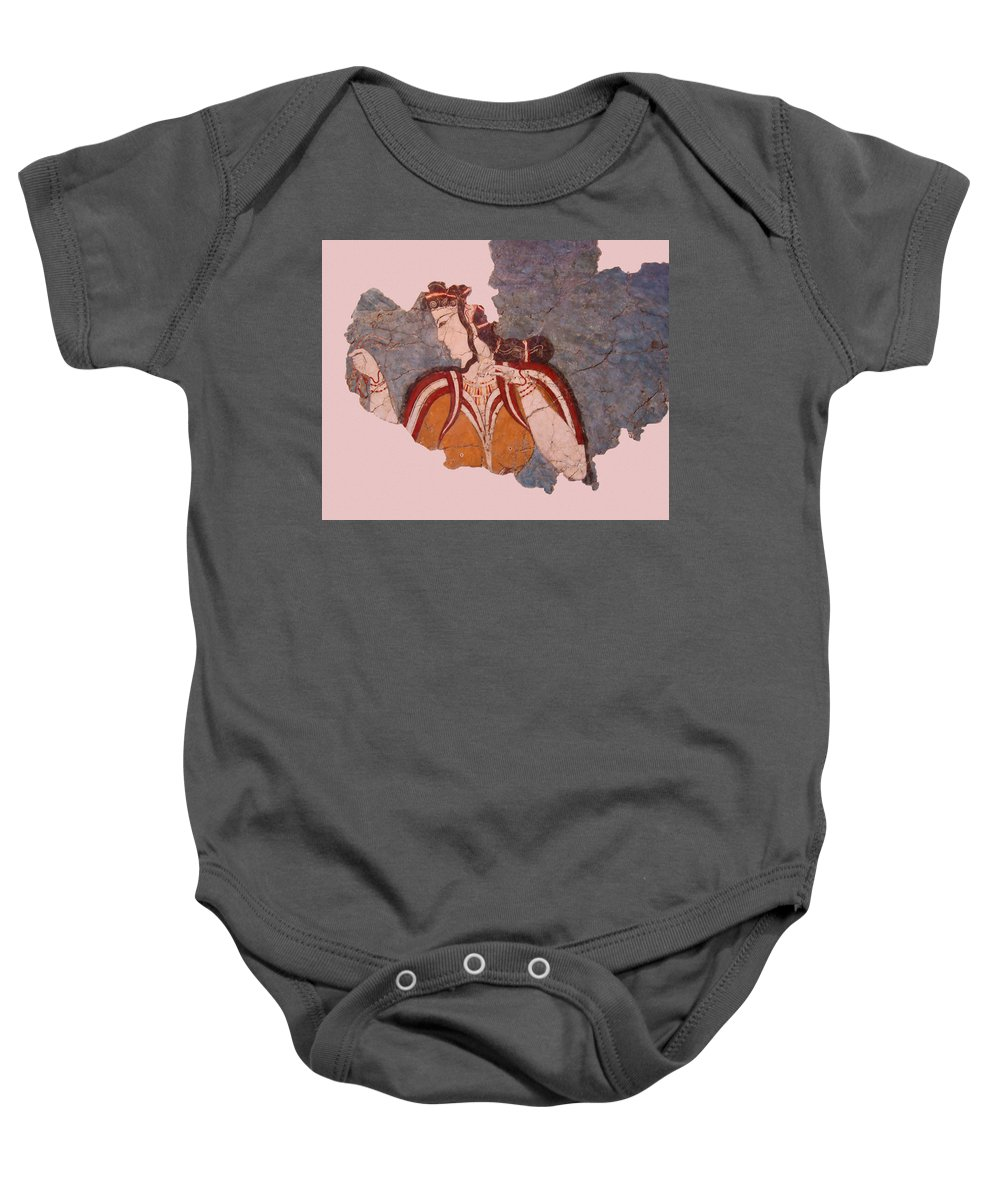 Minoan Wall Painting Baby Onesie featuring the photograph Minoan Wall Painting by Ellen Henneke