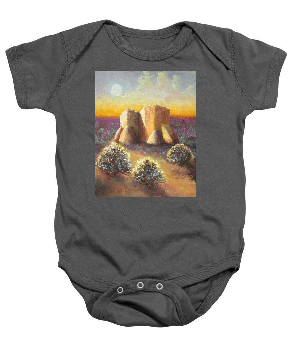 Landscape Baby Onesie featuring the painting Mission Imagined by Jerry McElroy