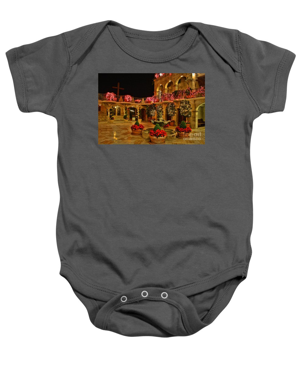 Mission Inn Baby Onesie featuring the photograph Mission Inn Christmas Chapel Courtyard by Tommy Anderson