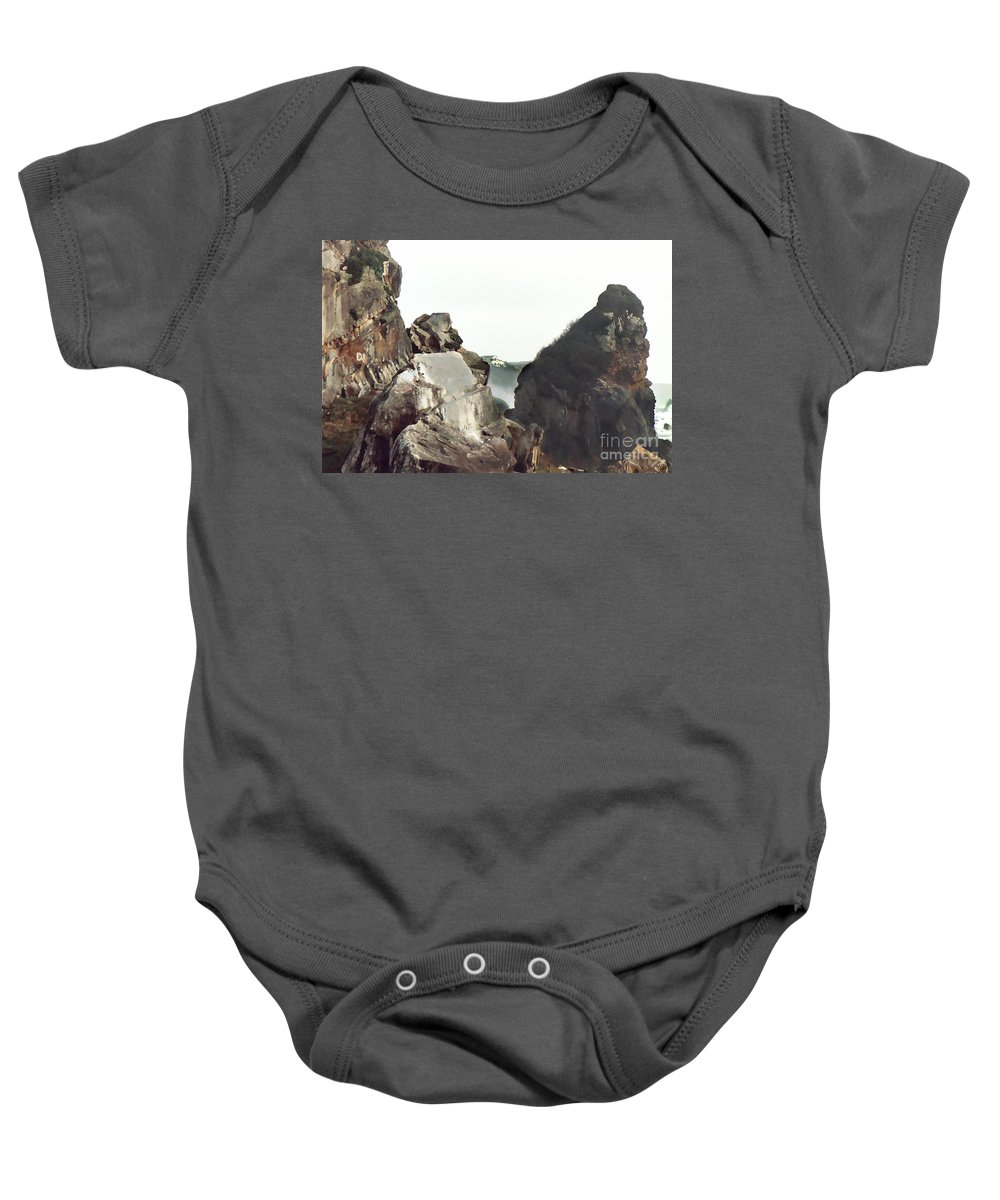 Gold Beach Baby Onesie featuring the painting Mist Among The Break by Peter Piatt