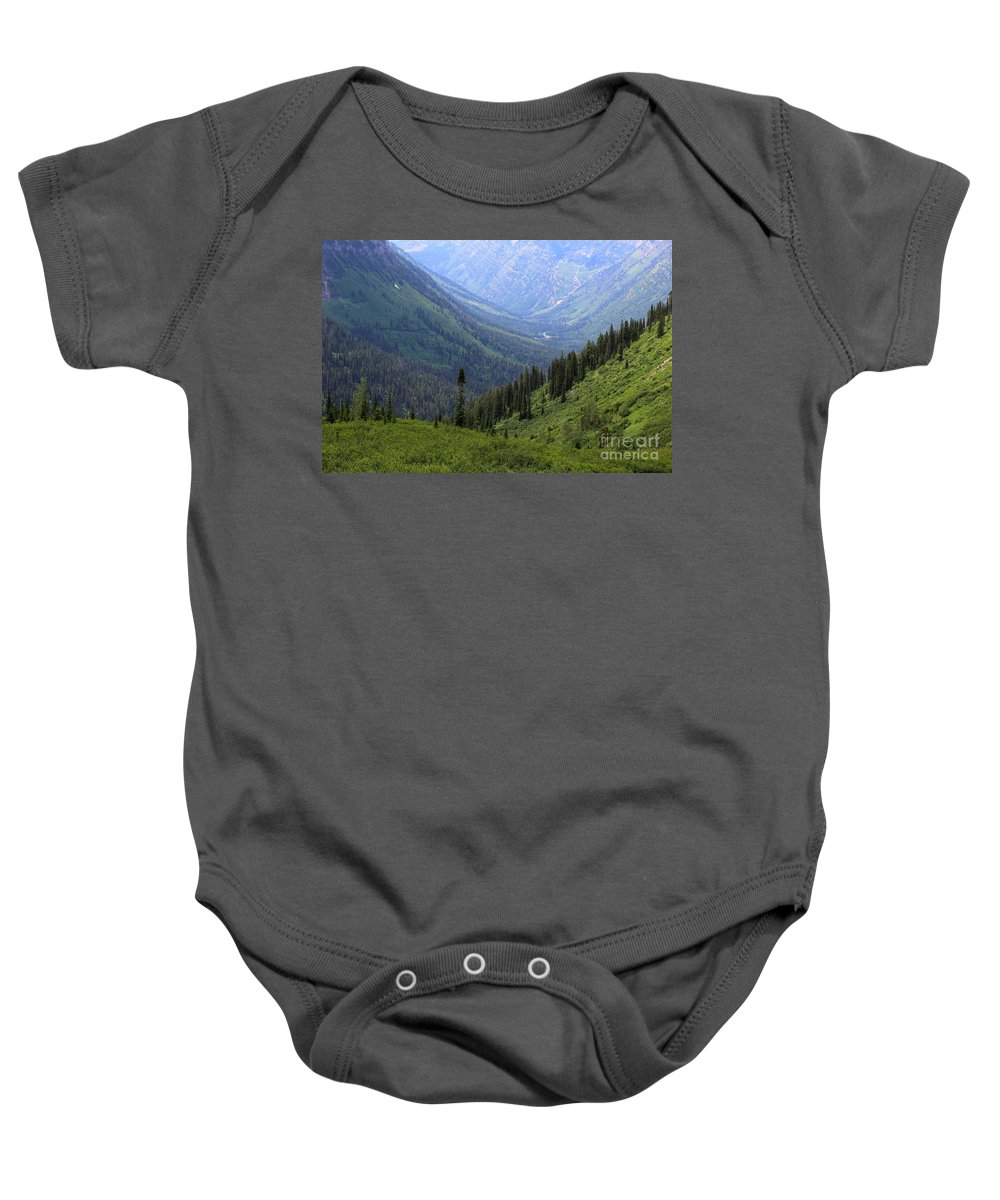 Glacier National Park Baby Onesie featuring the photograph Mist In The Valley by Carol Groenen