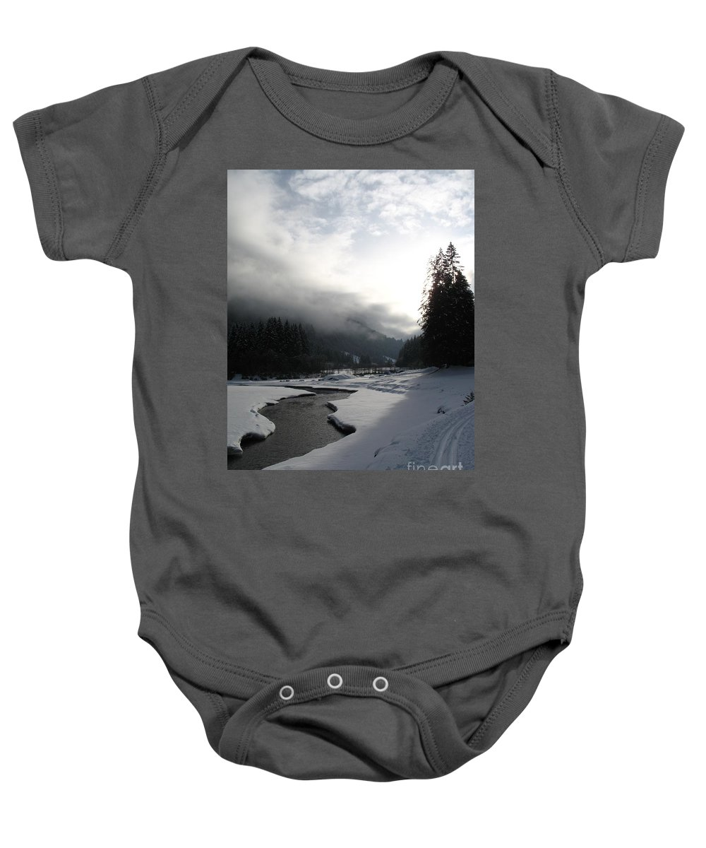 Valley Baby Onesie featuring the photograph Mist Over A Snowy Valley by Christiane Schulze Art And Photography