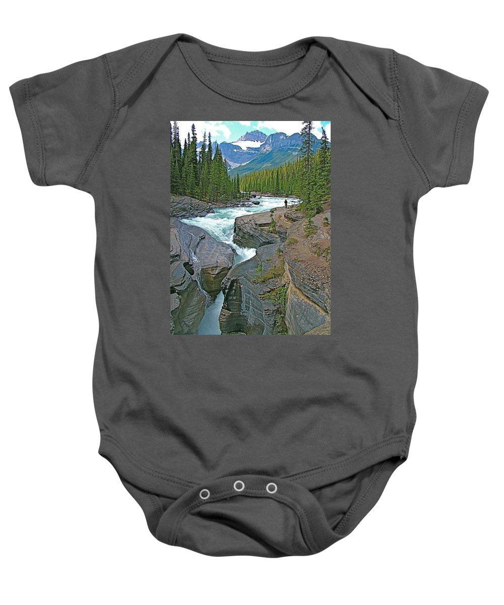 Mistaya Canyon Along Icefields Parkway In Alberta Baby Onesie featuring the photograph Mistaya Canyon Along Icefield Parkway In Alberta by Ruth Hager