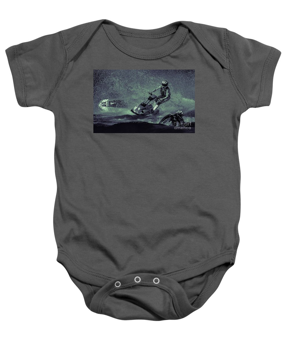 Sports Baby Onesie featuring the photograph Scary Split-second At Sixty Mph by Joy McAdams