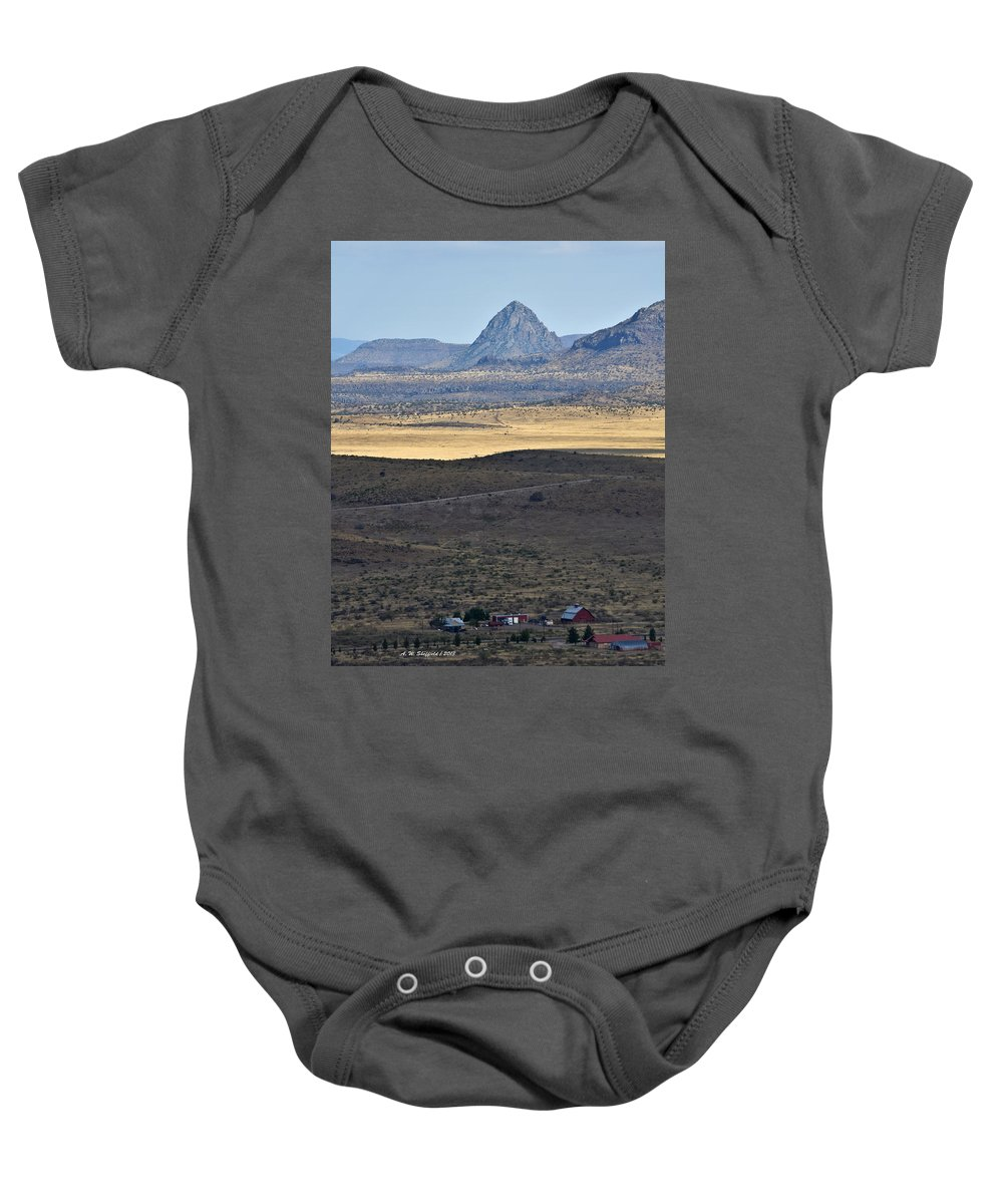 High Desert Baby Onesie featuring the photograph Miter Peak by Allen Sheffield