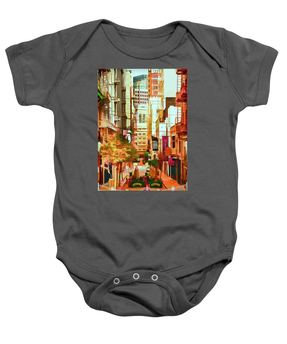 Maiden Lane Baby Onesie featuring the photograph Mocca On Maiden Lane by Bill Gallagher
