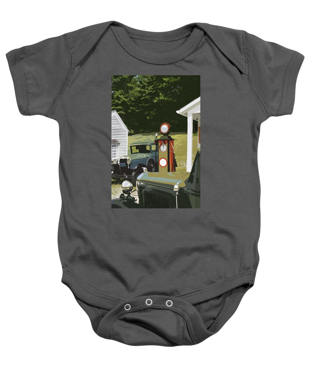 Model A Ford Baby Onesie featuring the photograph Model A Ford And Old Gas Station Illustration by Keith Webber Jr