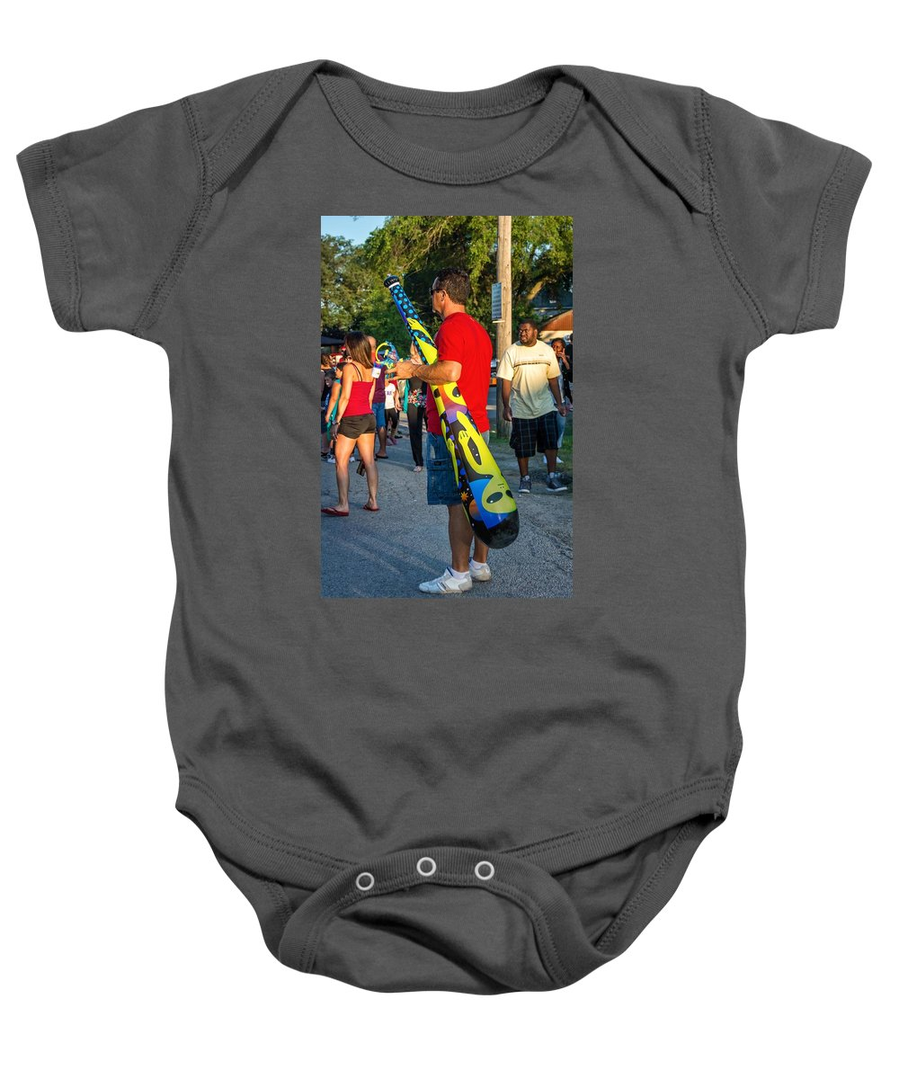 Bolton Baby Onesie featuring the photograph Modern Day Cave Man by Steve Harrington