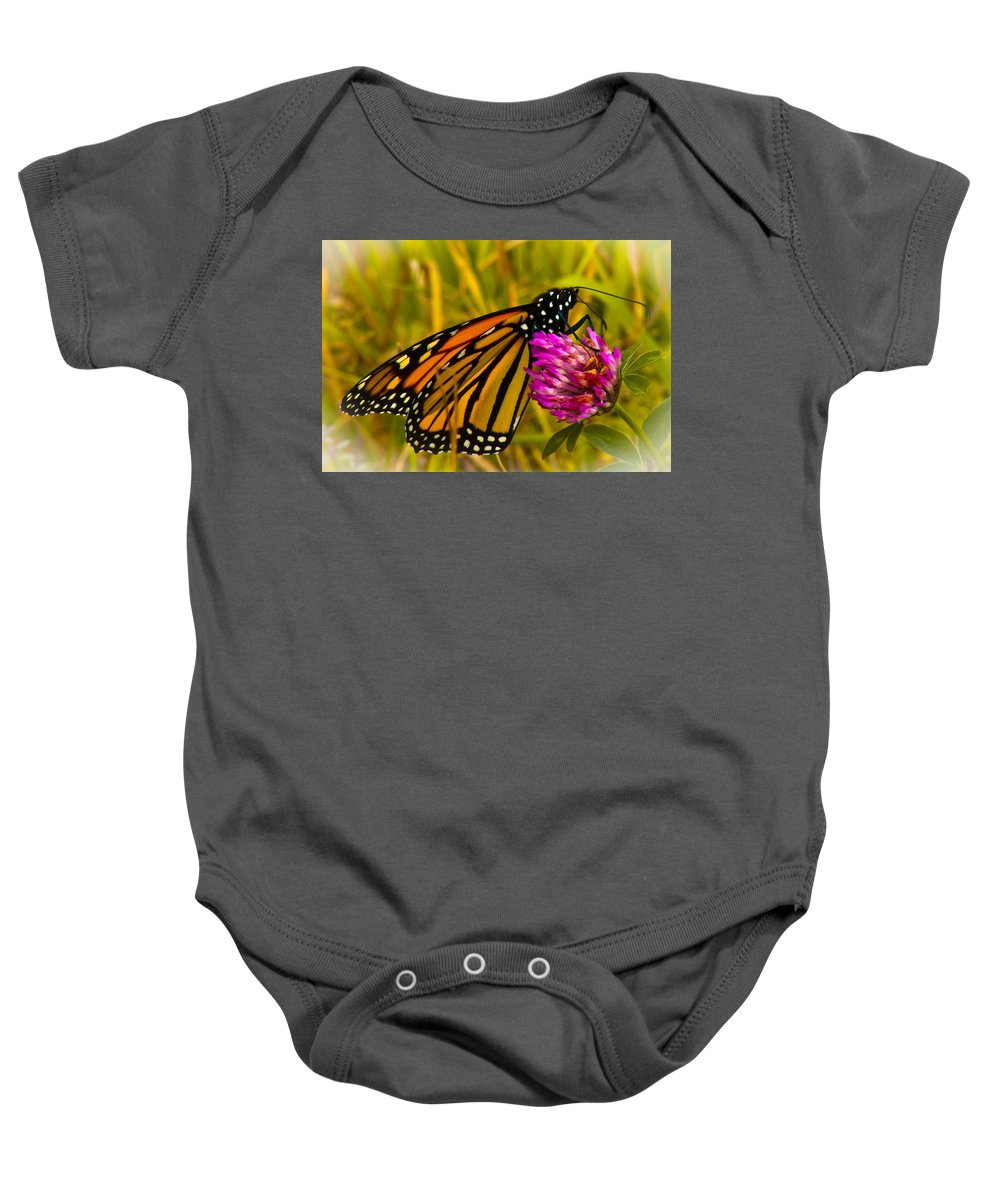 Butterfly Baby Onesie featuring the photograph Monarch Butterfly On Flower by Jiayin Ma