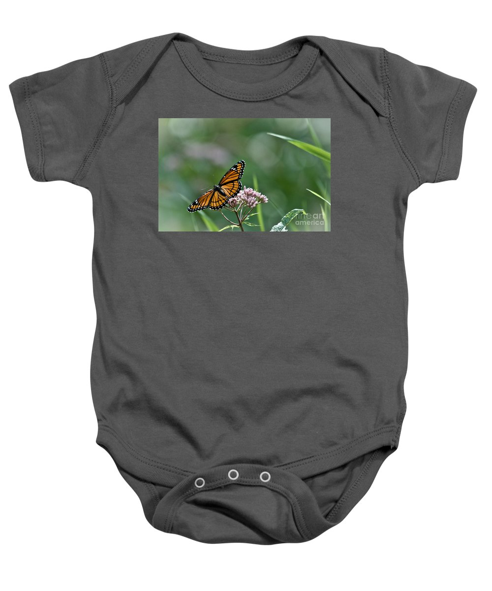 Monarch Baby Onesie featuring the photograph Monarch Perch by Cheryl Baxter