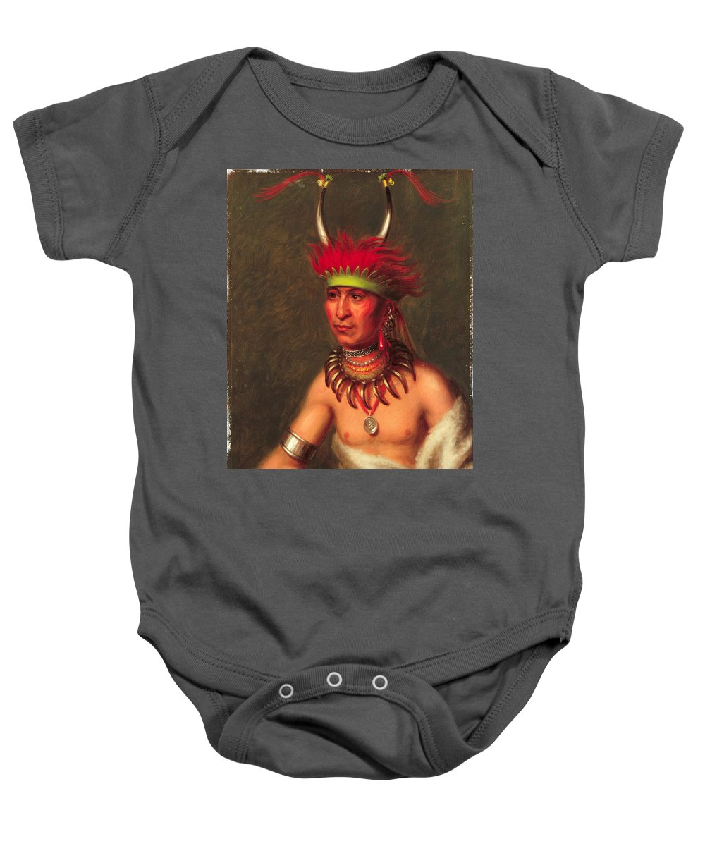 Charles Bird King Baby Onesie featuring the painting Monchousia . White Plume Kansa by Charles Bird King